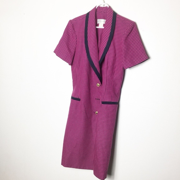 Vintage Dresses & Skirts - Petite Sophisticate & Co. Pink Black Plaid Dress